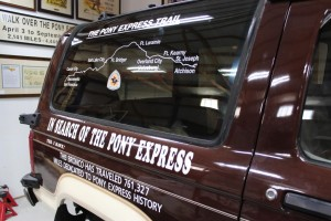 Pony Express historian Joe Nardone donated this vehicle to the Lodgepole Depot Museum. It traveled 761,327 miles to document Pony Express history.