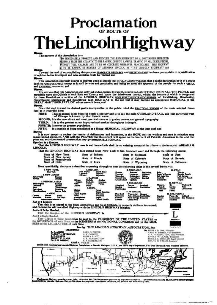 Lincoln Highway Proclamation